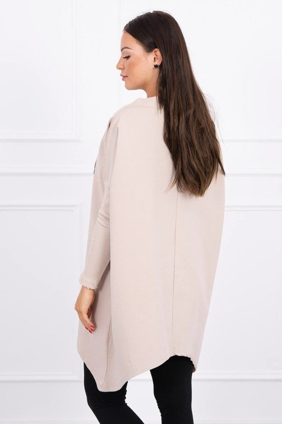 Oversize sweatshirt with asymmetrical sides beige