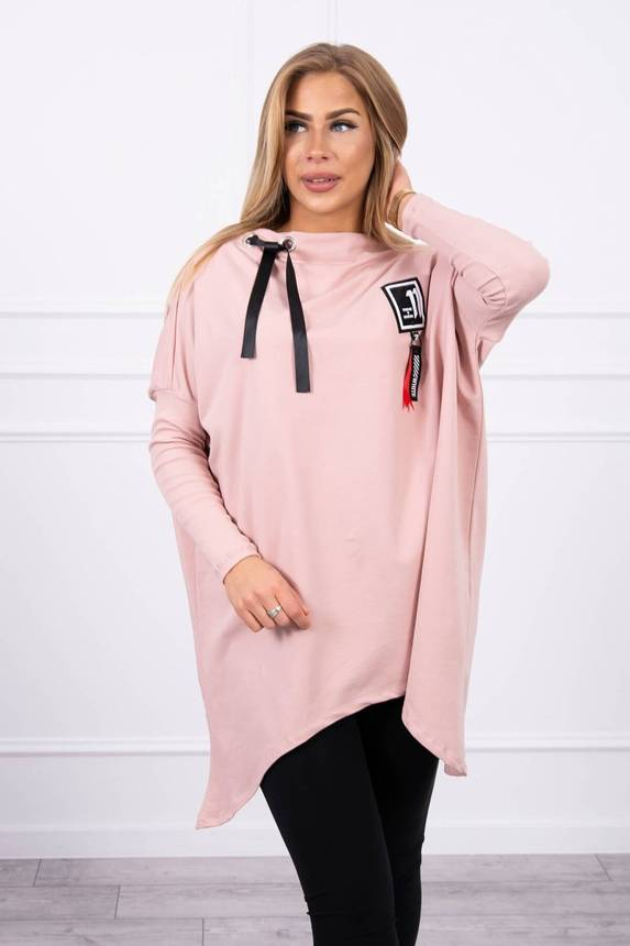 Oversize sweatshirt with asymmetrical sides dark powdered pink
