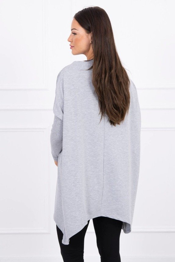 Oversize sweatshirt with asymmetrical sides gray