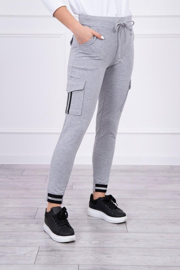 Pants cargo with stripe gray S/M - L/XL