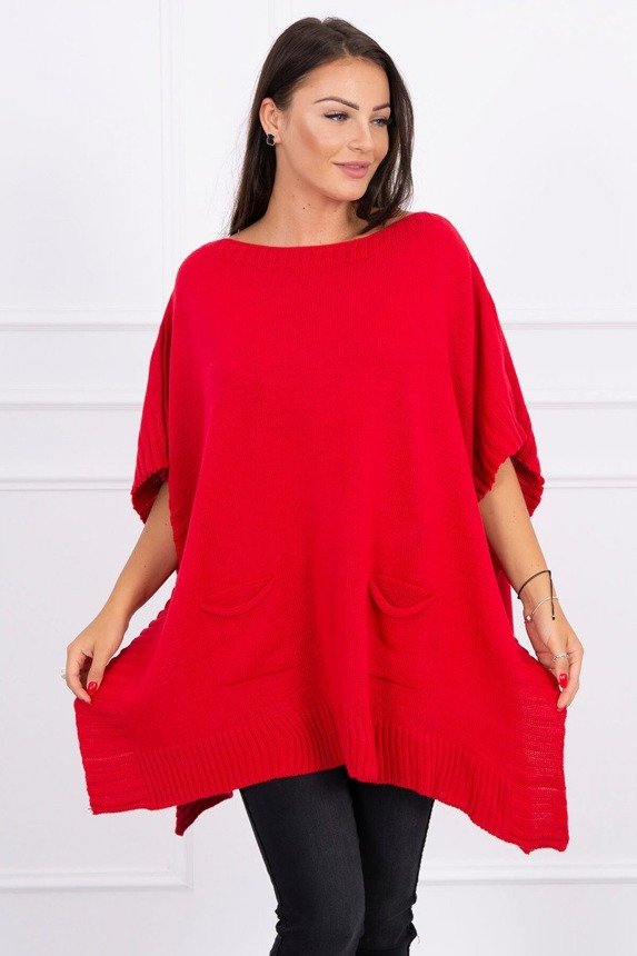 Poncho sweater red