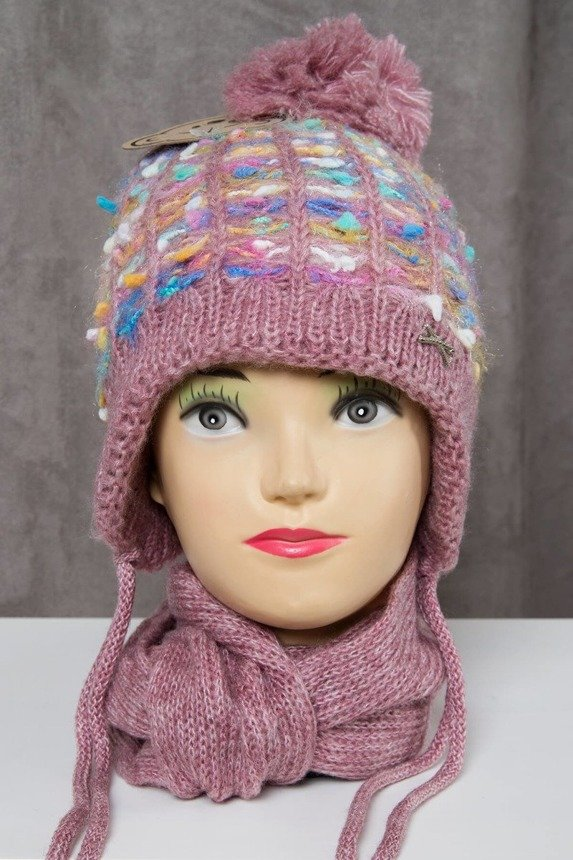 Set hat+scarf K50 dark powdered pink