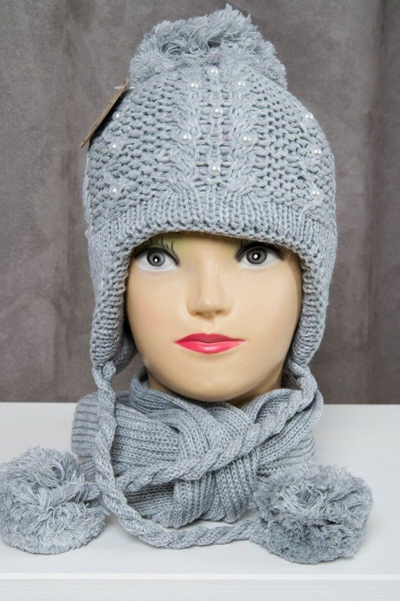 Set hat+scarf K52 gray