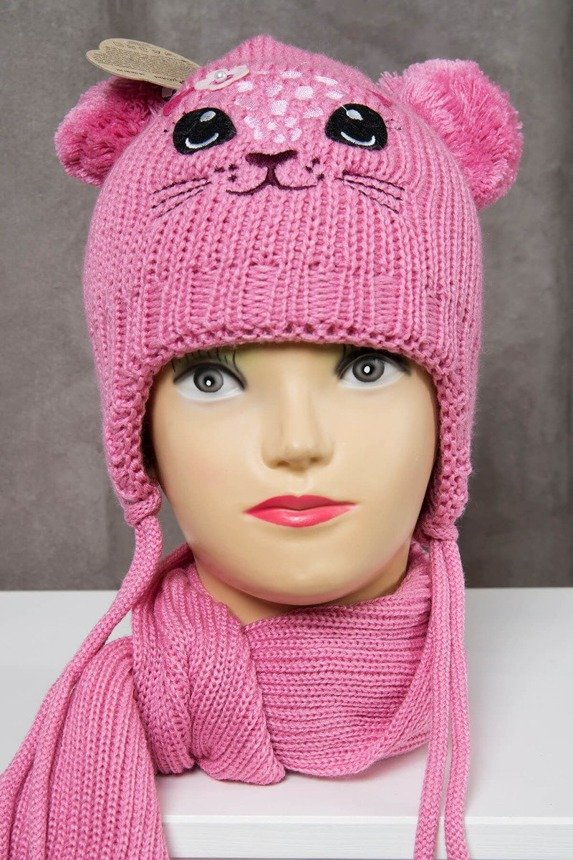 Set hat+scarf K60 dark pink