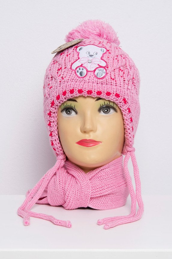 Set hat+scarf K64 light pink