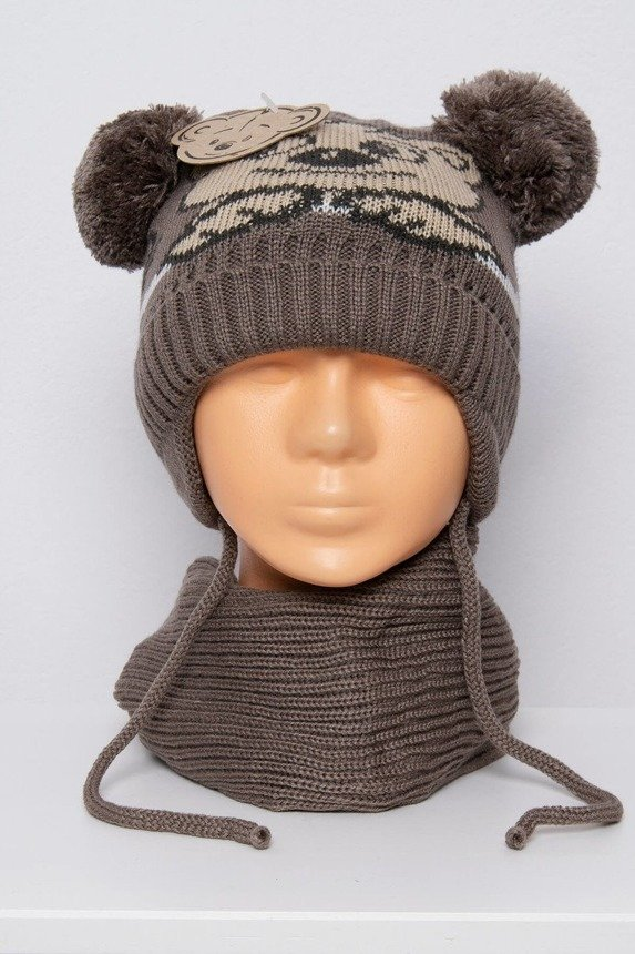 Set hat+scarf K76 dark beige