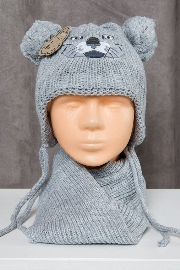 Set hat+scarf K81 light gray