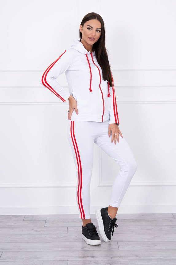 Set with a double strap white+red