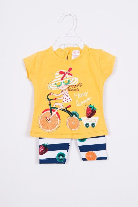 Set with a girl on a bike yellow (4 pcs.)