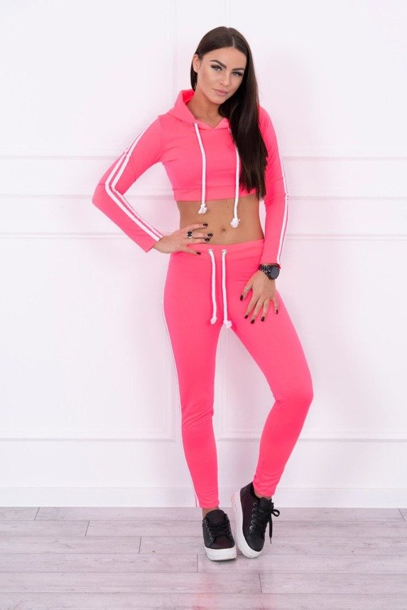 Set with a short sweatshirt pink neon