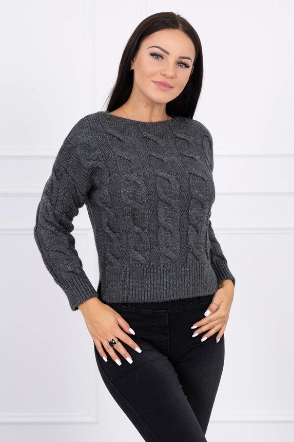 Short sweater with longer back graphite