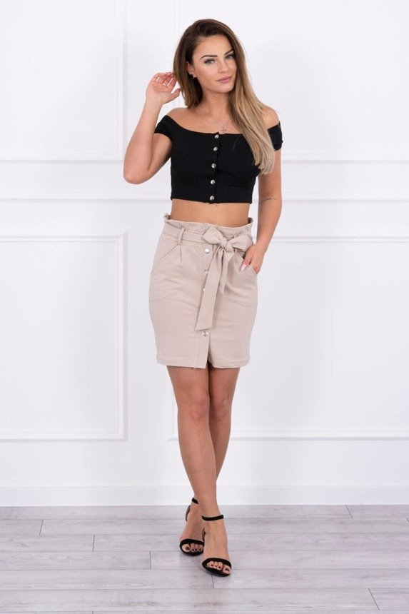 Skirt with decorative buttons beige