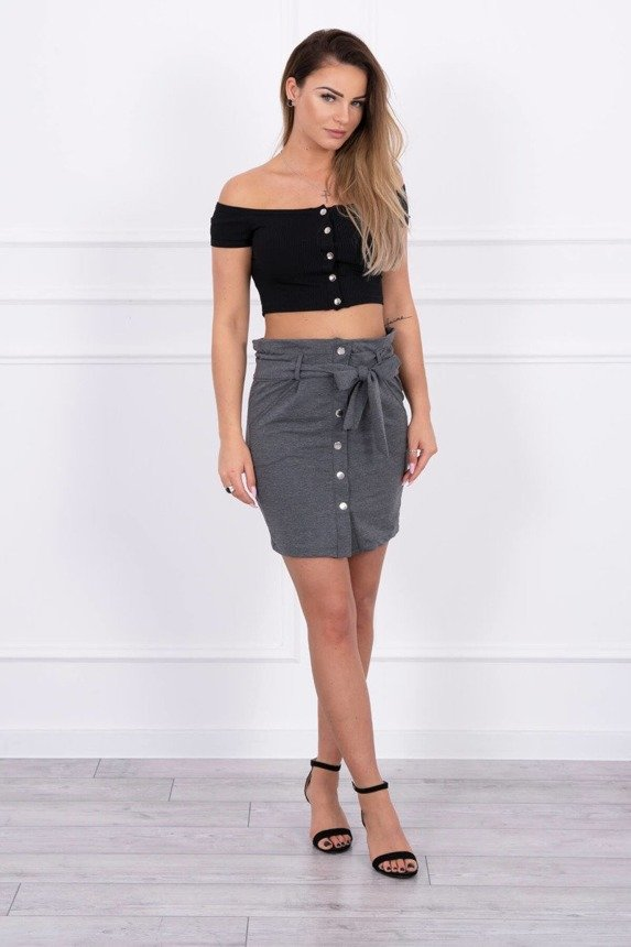 Skirt with decorative buttons graphite melange