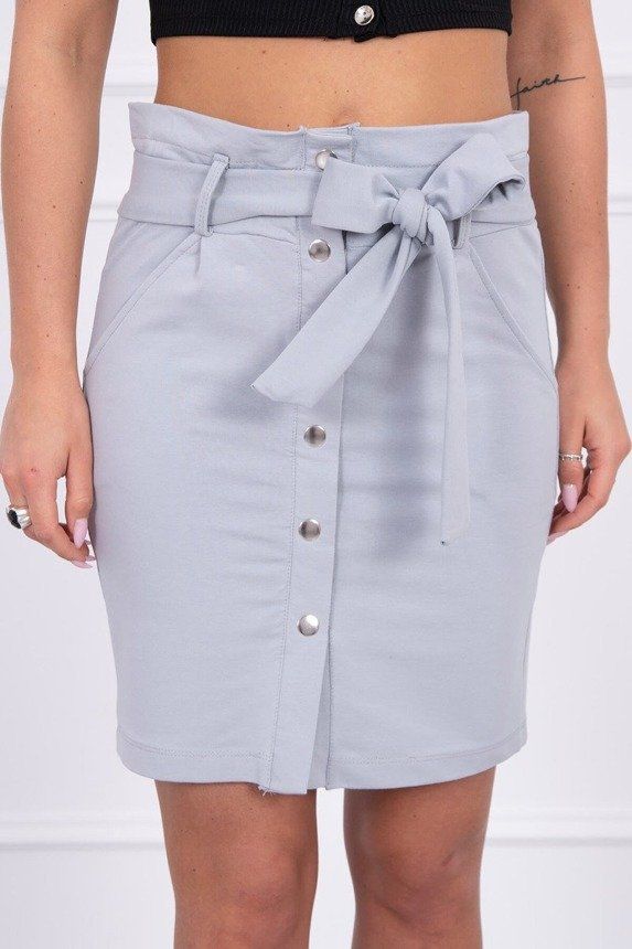 Skirt with decorative buttons gray