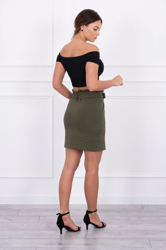 Skirt with decorative buttons khaki
