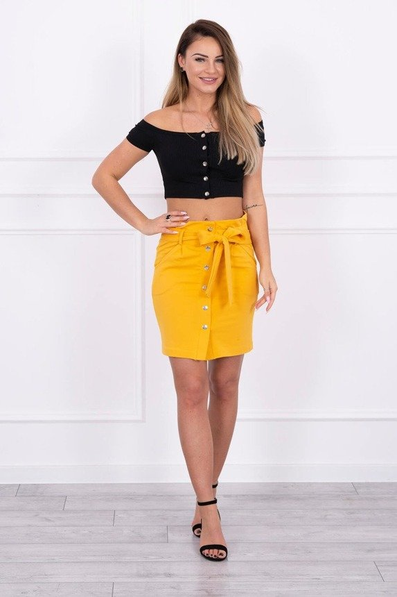 Skirt with decorative buttons mustard