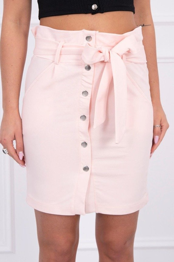 Skirt with decorative buttons powdered pink