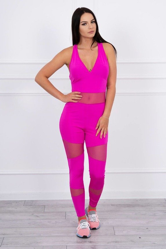 Sports suit with mesh fuchsia
