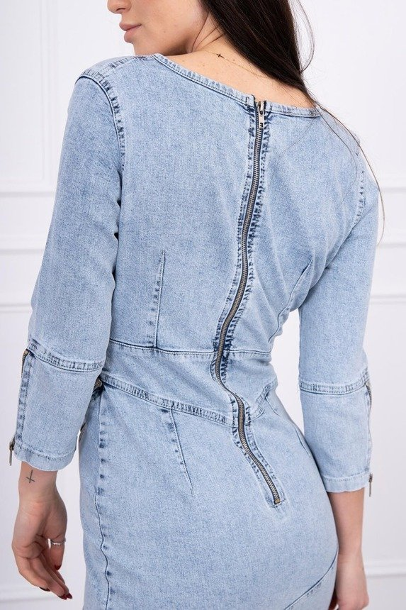 Stretch denim dress with a slanted zip S/M-L/XL