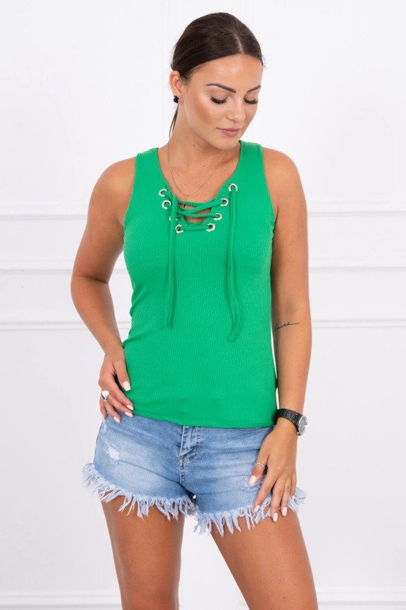Striped blouse with lacing green