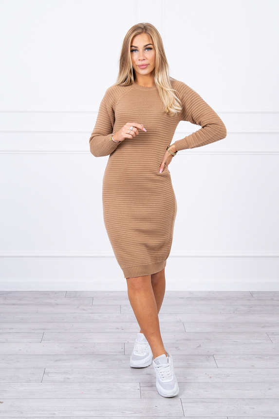 Striped sweater dress  camel