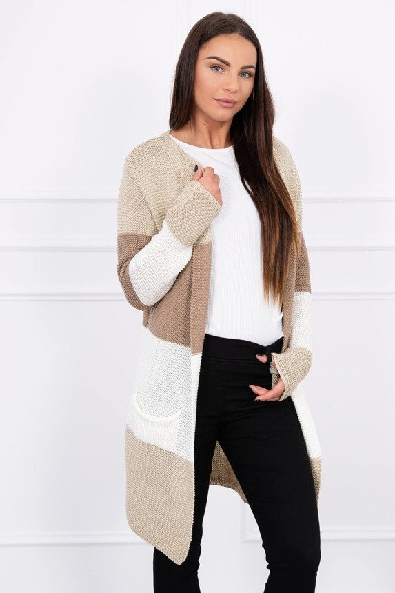 Sweater Cardigan in the straps beige+brown