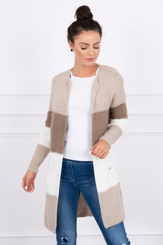 Sweater Cardigan in the straps beige+cappuccino