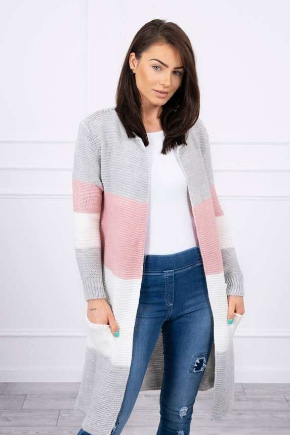 Sweater Cardigan in the straps gray+powdered pink