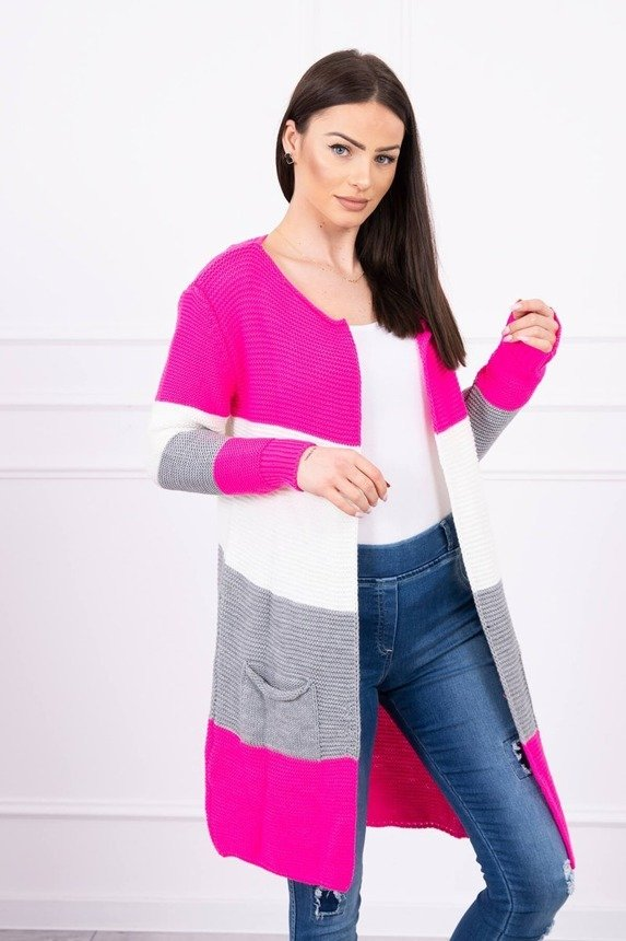 Sweater Cardigan in the straps pink neon+ecru