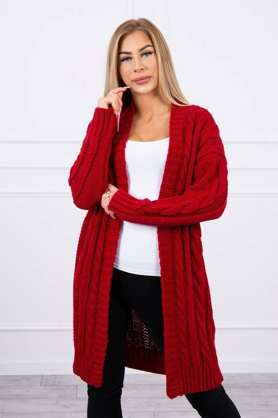 Sweater Cardigan with braid weave red