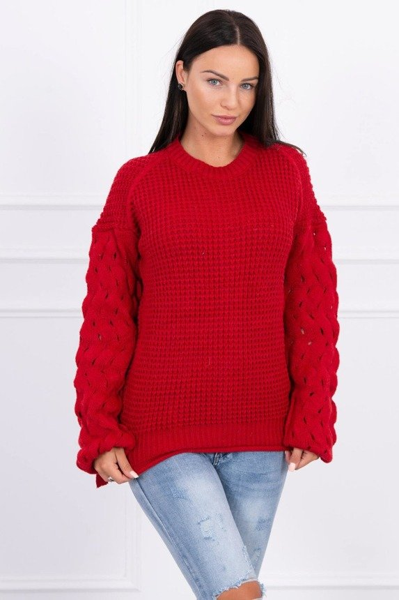 Sweater tied at the bottom red