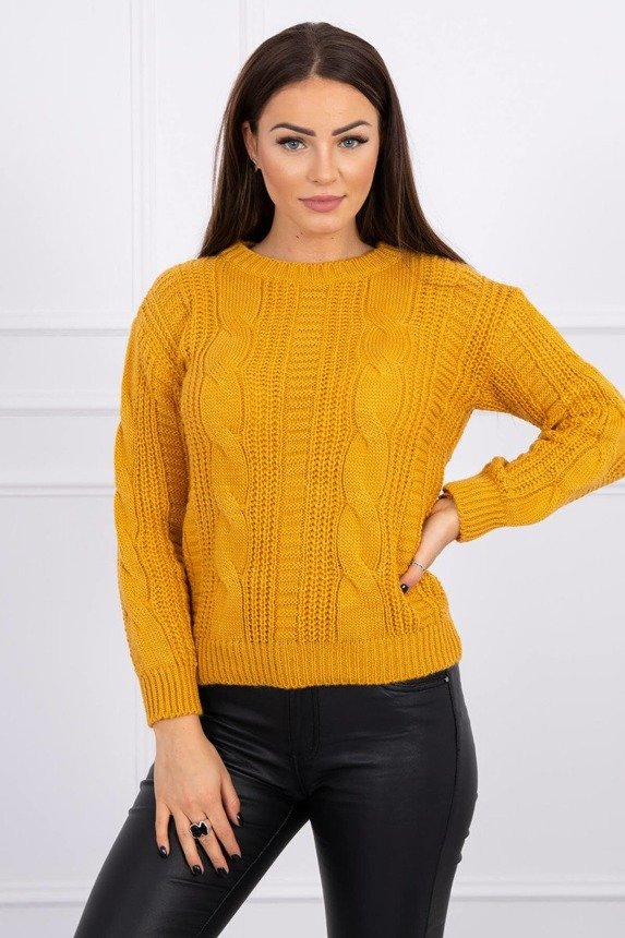 Sweater with a decorative weave mustard