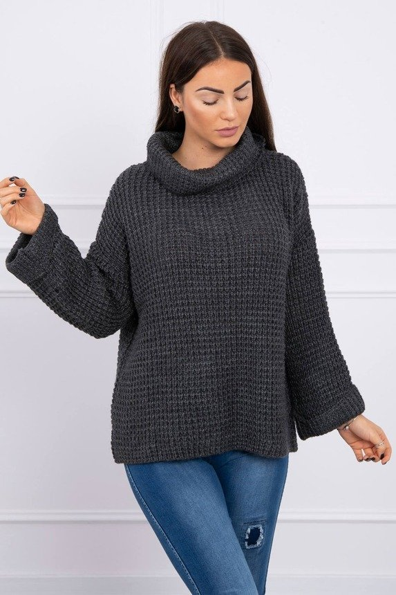 Sweater with a roll-up sleeve graphite