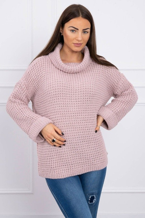 Sweater with a roll-up sleeve powdered pink