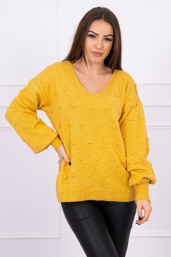 Sweater with bubbles mustard