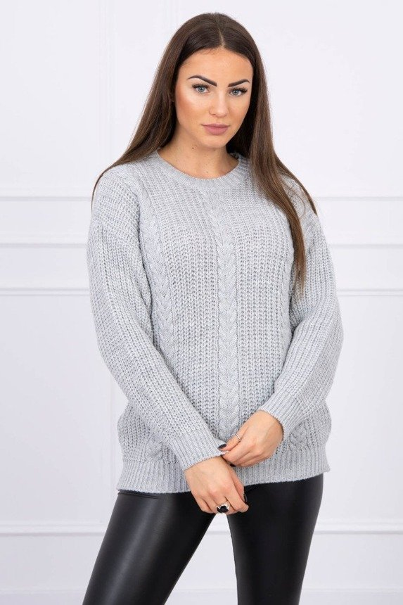 Sweater with decorative braids gray