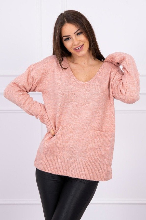 Sweater with decorative pockets powdered pink