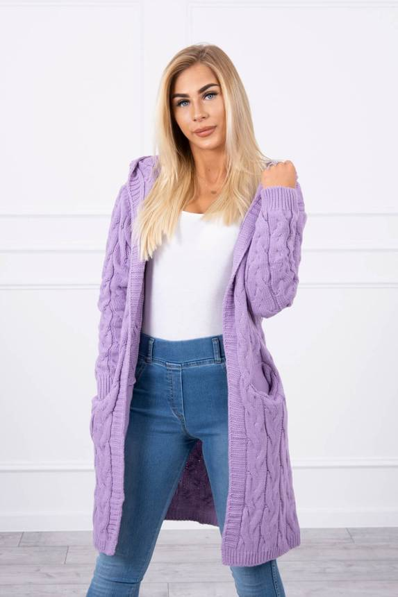 Sweater with hood and pockets purple