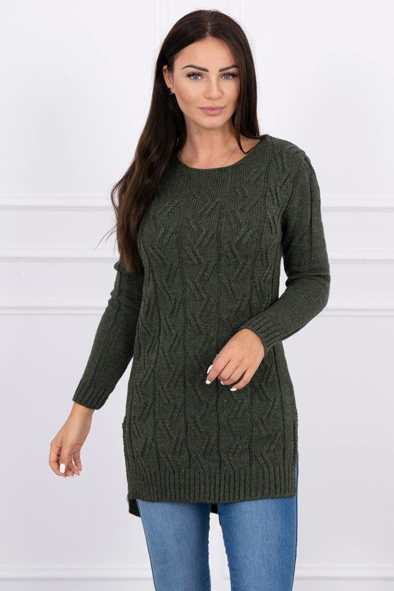 Sweater with longer back and weave in braid khaki