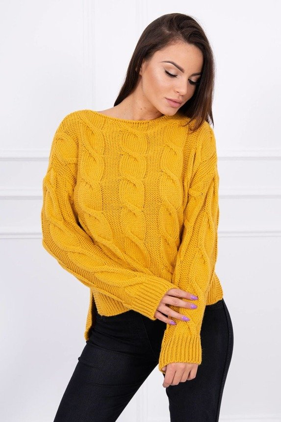 Sweater with longer back light mustard