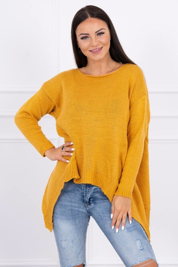 Sweater with longer sides mustard
