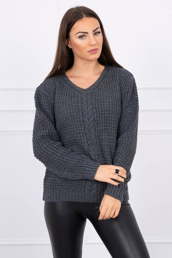 Sweater with neckline decorated with braid graphite