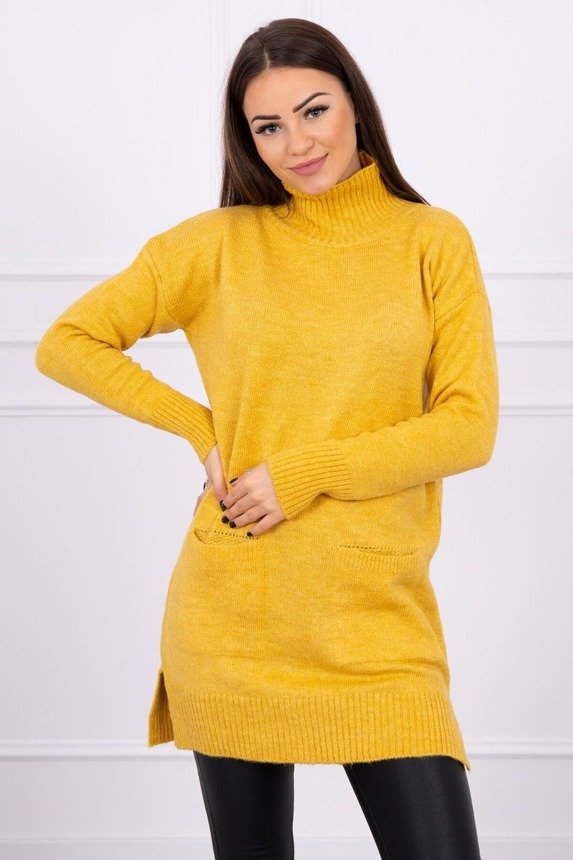 Sweater with stand-up collar mustard