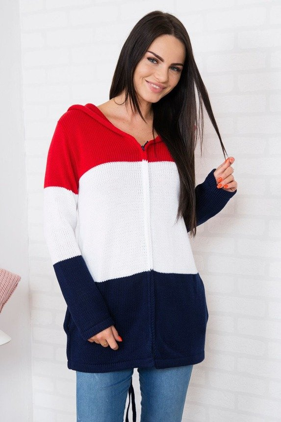 Sweater with zipper red+white