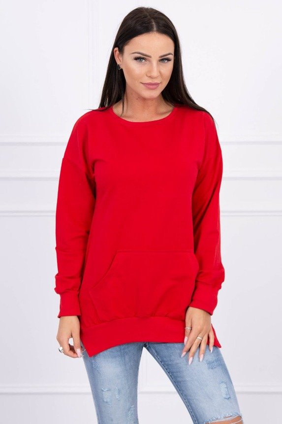 Sweatshirt with a pocket at the front red