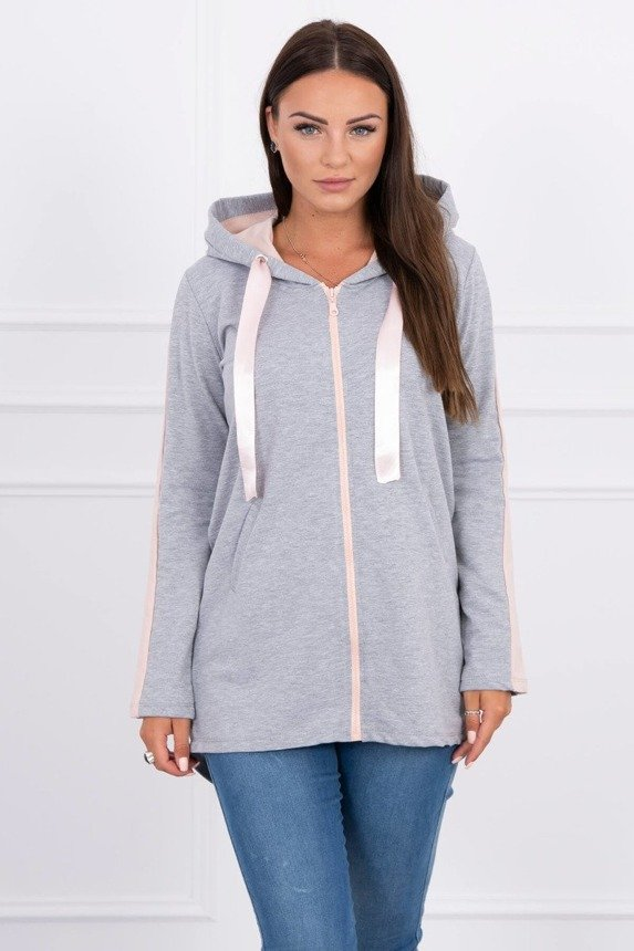 Sweatshirt with an insert on the sleeve gray