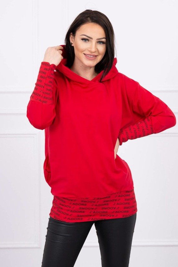 Sweatshirt with inscriptions Oversize red