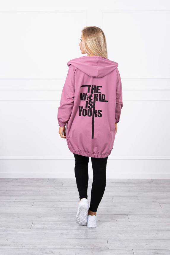 "Sweatshirt with print ""The world is yours"" dark pink"