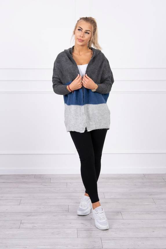 Three-color hooded sweater graphite+jeans+gray