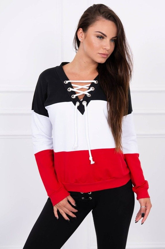 Three-color sweatshirt laced black+white+red